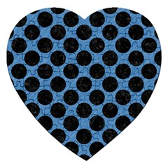 CIRCLES2 BLACK MARBLE & BLUE COLORED PENCIL (R) Jigsaw Puzzle (Heart)