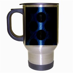 CIRCLES2 BLACK MARBLE & BLUE COLORED PENCIL (R) Travel Mug (Silver Gray)