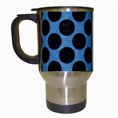 CIRCLES2 BLACK MARBLE & BLUE COLORED PENCIL (R) Travel Mug (White)
