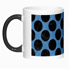 CIRCLES2 BLACK MARBLE & BLUE COLORED PENCIL (R) Morph Mug