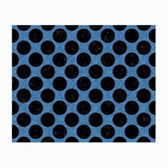 CIRCLES2 BLACK MARBLE & BLUE COLORED PENCIL (R) Small Glasses Cloth