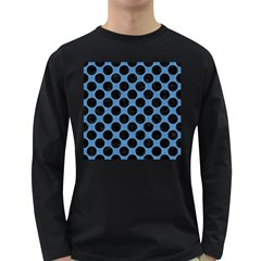CIRCLES2 BLACK MARBLE & BLUE COLORED PENCIL (R) Long Sleeve Dark T-Shirt
