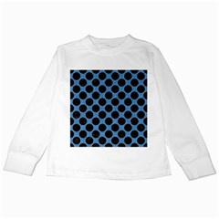 CIRCLES2 BLACK MARBLE & BLUE COLORED PENCIL (R) Kids Long Sleeve T-Shirt