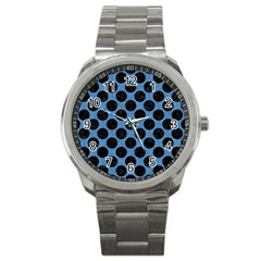 CIRCLES2 BLACK MARBLE & BLUE COLORED PENCIL (R) Sport Metal Watch