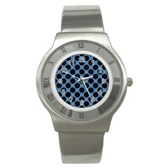 CIRCLES2 BLACK MARBLE & BLUE COLORED PENCIL (R) Stainless Steel Watch