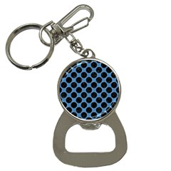CIRCLES2 BLACK MARBLE & BLUE COLORED PENCIL (R) Bottle Opener Key Chain