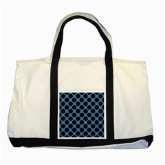 CIRCLES2 BLACK MARBLE & BLUE COLORED PENCIL (R) Two Tone Tote Bag