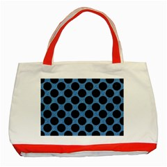 CIRCLES2 BLACK MARBLE & BLUE COLORED PENCIL (R) Classic Tote Bag (Red)