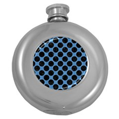 CIRCLES2 BLACK MARBLE & BLUE COLORED PENCIL (R) Hip Flask (5 oz)