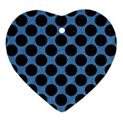 CIRCLES2 BLACK MARBLE & BLUE COLORED PENCIL (R) Heart Ornament (Two Sides)