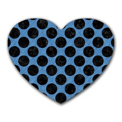 CIRCLES2 BLACK MARBLE & BLUE COLORED PENCIL (R) Heart Mousepad
