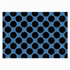 CIRCLES2 BLACK MARBLE & BLUE COLORED PENCIL (R) Large Glasses Cloth