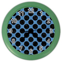 CIRCLES2 BLACK MARBLE & BLUE COLORED PENCIL (R) Color Wall Clock