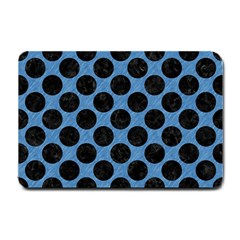 CIRCLES2 BLACK MARBLE & BLUE COLORED PENCIL (R) Small Doormat