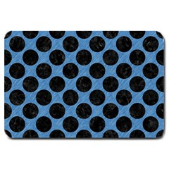 CIRCLES2 BLACK MARBLE & BLUE COLORED PENCIL (R) Large Doormat