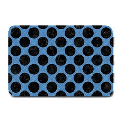CIRCLES2 BLACK MARBLE & BLUE COLORED PENCIL (R) Plate Mat