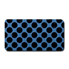 CIRCLES2 BLACK MARBLE & BLUE COLORED PENCIL (R) Medium Bar Mat
