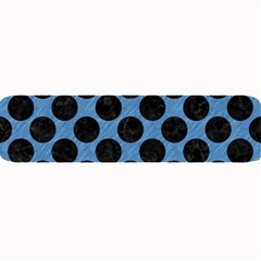 CIRCLES2 BLACK MARBLE & BLUE COLORED PENCIL (R) Large Bar Mat
