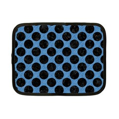 CIRCLES2 BLACK MARBLE & BLUE COLORED PENCIL (R) Netbook Case (Small)