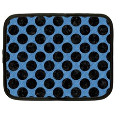CIRCLES2 BLACK MARBLE & BLUE COLORED PENCIL (R) Netbook Case (Large)