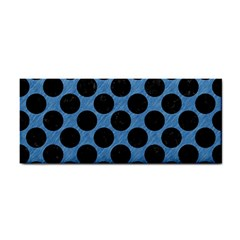CIRCLES2 BLACK MARBLE & BLUE COLORED PENCIL (R) Hand Towel