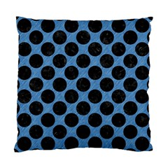 CIRCLES2 BLACK MARBLE & BLUE COLORED PENCIL (R) Standard Cushion Case (One Side)