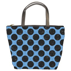 CIRCLES2 BLACK MARBLE & BLUE COLORED PENCIL (R) Bucket Bag
