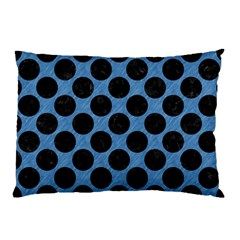 CIRCLES2 BLACK MARBLE & BLUE COLORED PENCIL (R) Pillow Case
