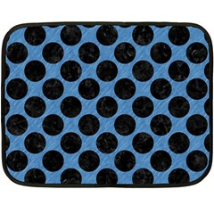 CIRCLES2 BLACK MARBLE & BLUE COLORED PENCIL (R) Double Sided Fleece Blanket (Mini)