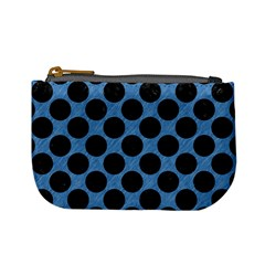 CIRCLES2 BLACK MARBLE & BLUE COLORED PENCIL (R) Mini Coin Purse