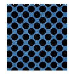 CIRCLES2 BLACK MARBLE & BLUE COLORED PENCIL (R) Shower Curtain 66  x 72  (Large)