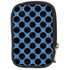 CIRCLES2 BLACK MARBLE & BLUE COLORED PENCIL (R) Compact Camera Leather Case