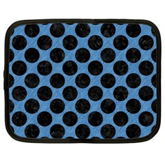 CIRCLES2 BLACK MARBLE & BLUE COLORED PENCIL (R) Netbook Case (XL)
