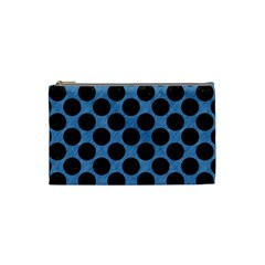 CIRCLES2 BLACK MARBLE & BLUE COLORED PENCIL (R) Cosmetic Bag (Small)