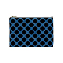 CIRCLES2 BLACK MARBLE & BLUE COLORED PENCIL (R) Cosmetic Bag (Medium)