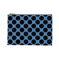 CIRCLES2 BLACK MARBLE & BLUE COLORED PENCIL (R) Cosmetic Bag (Large)