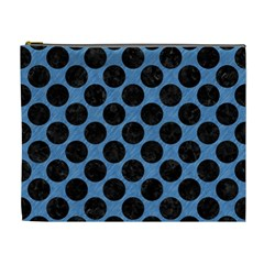 CIRCLES2 BLACK MARBLE & BLUE COLORED PENCIL (R) Cosmetic Bag (XL)