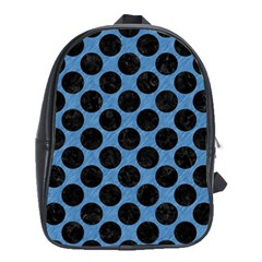 CIRCLES2 BLACK MARBLE & BLUE COLORED PENCIL (R) School Bag (Large)
