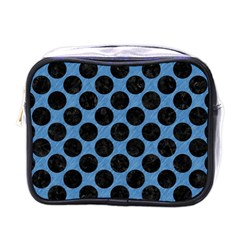 CIRCLES2 BLACK MARBLE & BLUE COLORED PENCIL (R) Mini Toiletries Bag (One Side)