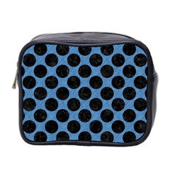 CIRCLES2 BLACK MARBLE & BLUE COLORED PENCIL (R) Mini Toiletries Bag (Two Sides)