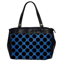 CIRCLES2 BLACK MARBLE & BLUE COLORED PENCIL (R) Oversize Office Handbag