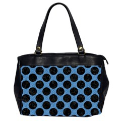CIRCLES2 BLACK MARBLE & BLUE COLORED PENCIL (R) Oversize Office Handbag (2 Sides)
