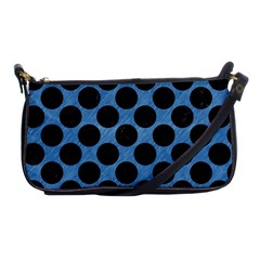 CIRCLES2 BLACK MARBLE & BLUE COLORED PENCIL (R) Shoulder Clutch Bag