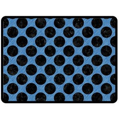CIRCLES2 BLACK MARBLE & BLUE COLORED PENCIL (R) Fleece Blanket (Large)