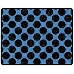 CIRCLES2 BLACK MARBLE & BLUE COLORED PENCIL (R) Fleece Blanket (Medium)