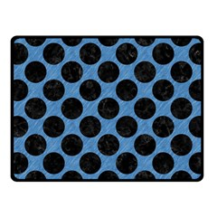 CIRCLES2 BLACK MARBLE & BLUE COLORED PENCIL (R) Fleece Blanket (Small)