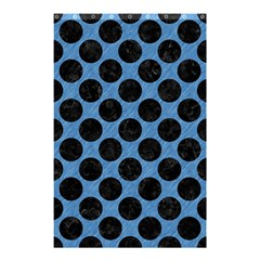CIRCLES2 BLACK MARBLE & BLUE COLORED PENCIL (R) Shower Curtain 48  x 72  (Small)
