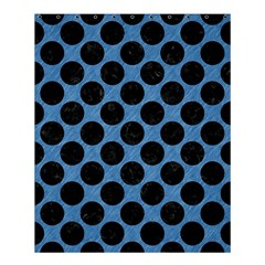 CIRCLES2 BLACK MARBLE & BLUE COLORED PENCIL (R) Shower Curtain 60  x 72  (Medium)