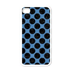 CIRCLES2 BLACK MARBLE & BLUE COLORED PENCIL (R) Apple iPhone 4 Case (White)