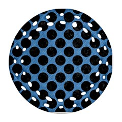 CIRCLES2 BLACK MARBLE & BLUE COLORED PENCIL (R) Round Filigree Ornament (Two Sides)